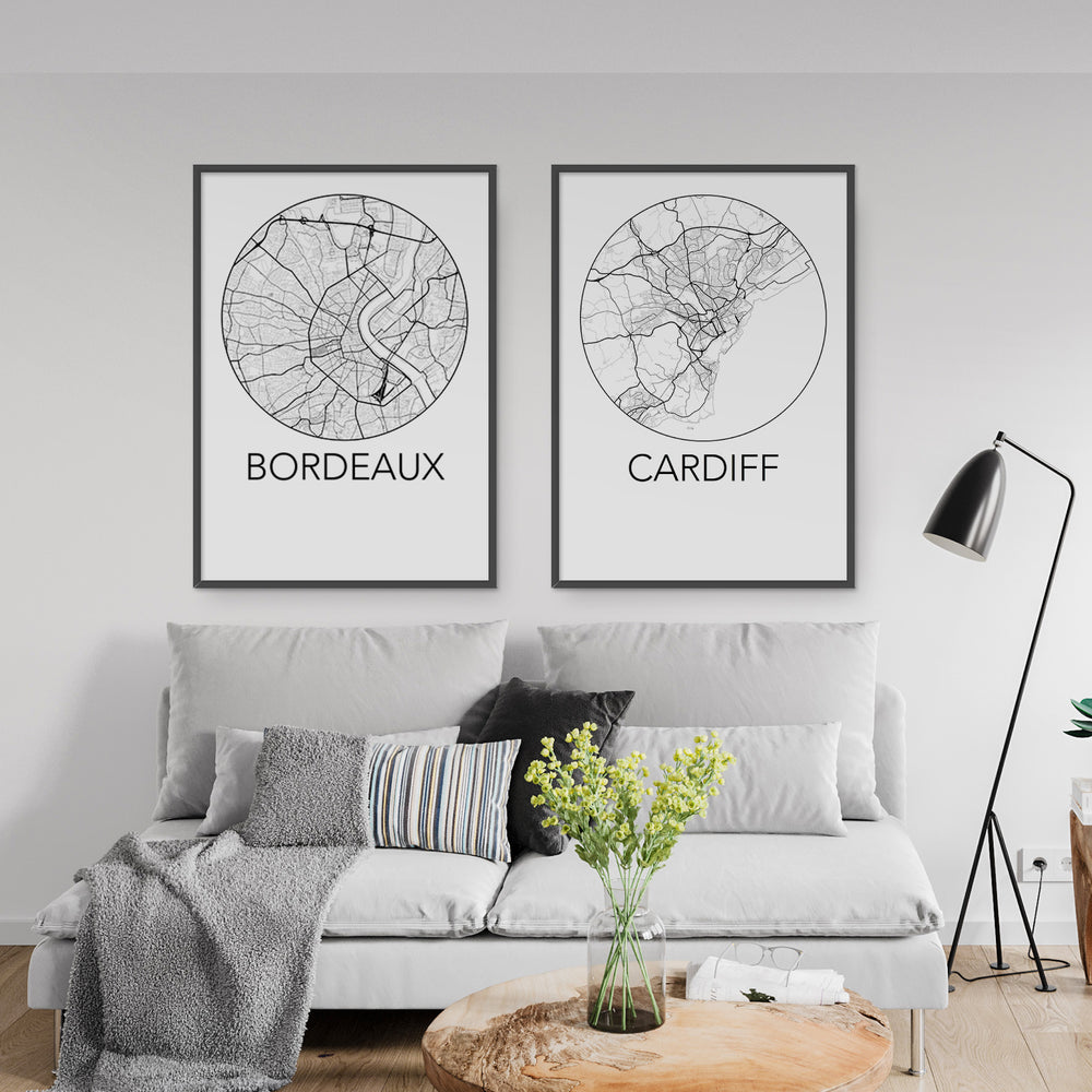 Decorate your home or office with a Bordeaux, France Minimalist City Map Print from The Neighbourhood Unit