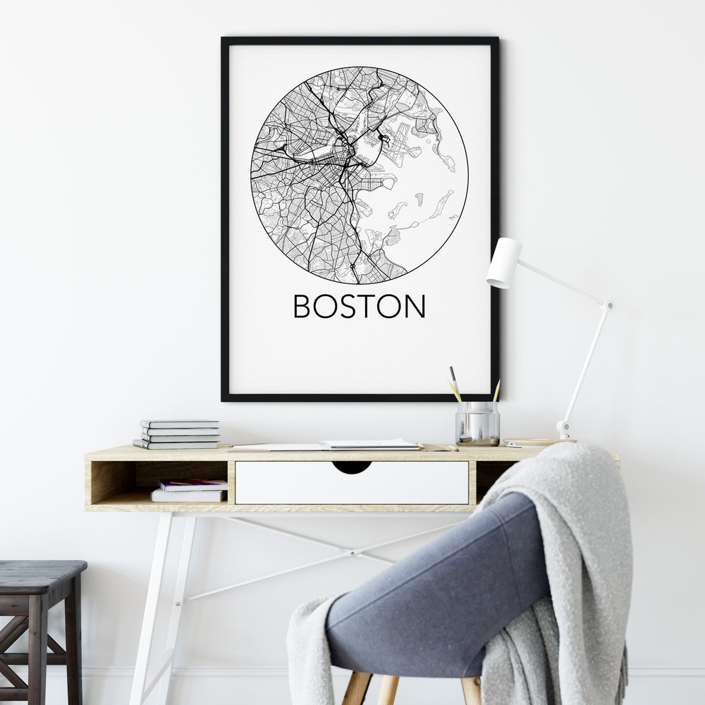 Decorate your home or office with a Boston, Massachusetts Minimalist City Map Print from The Neighbourhood Unit