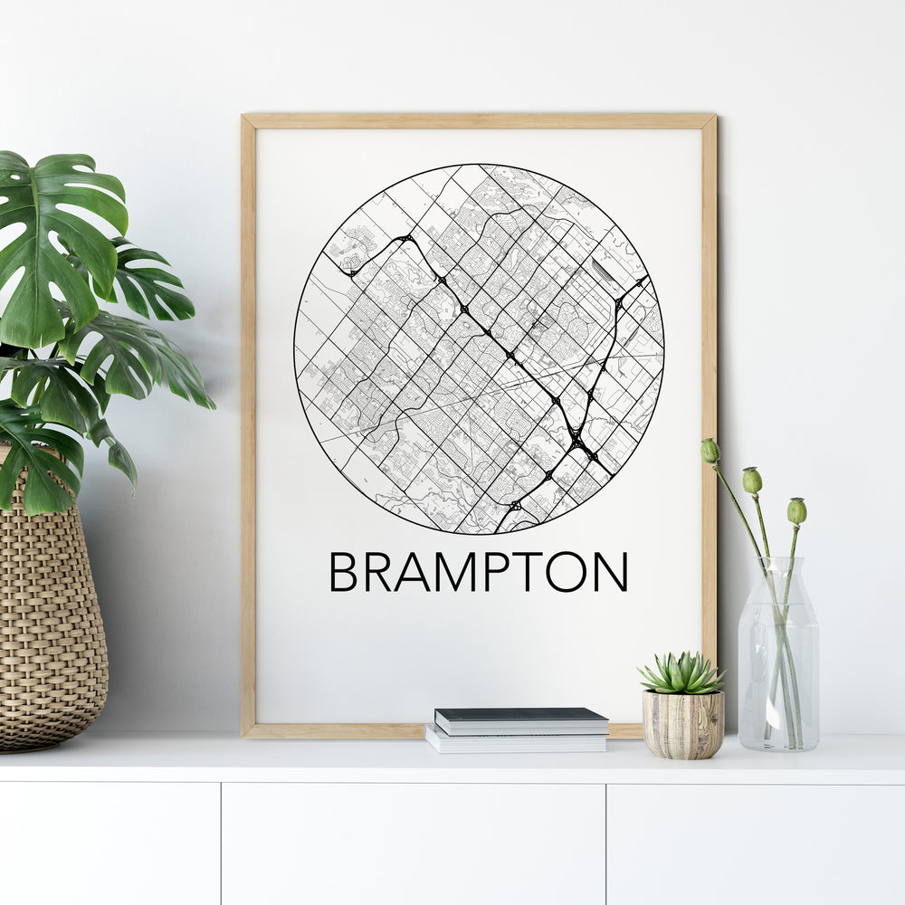 Decorate your home or office with a Brampton, Ontario Minimalist City Map Print from The Neighbourhood Unit