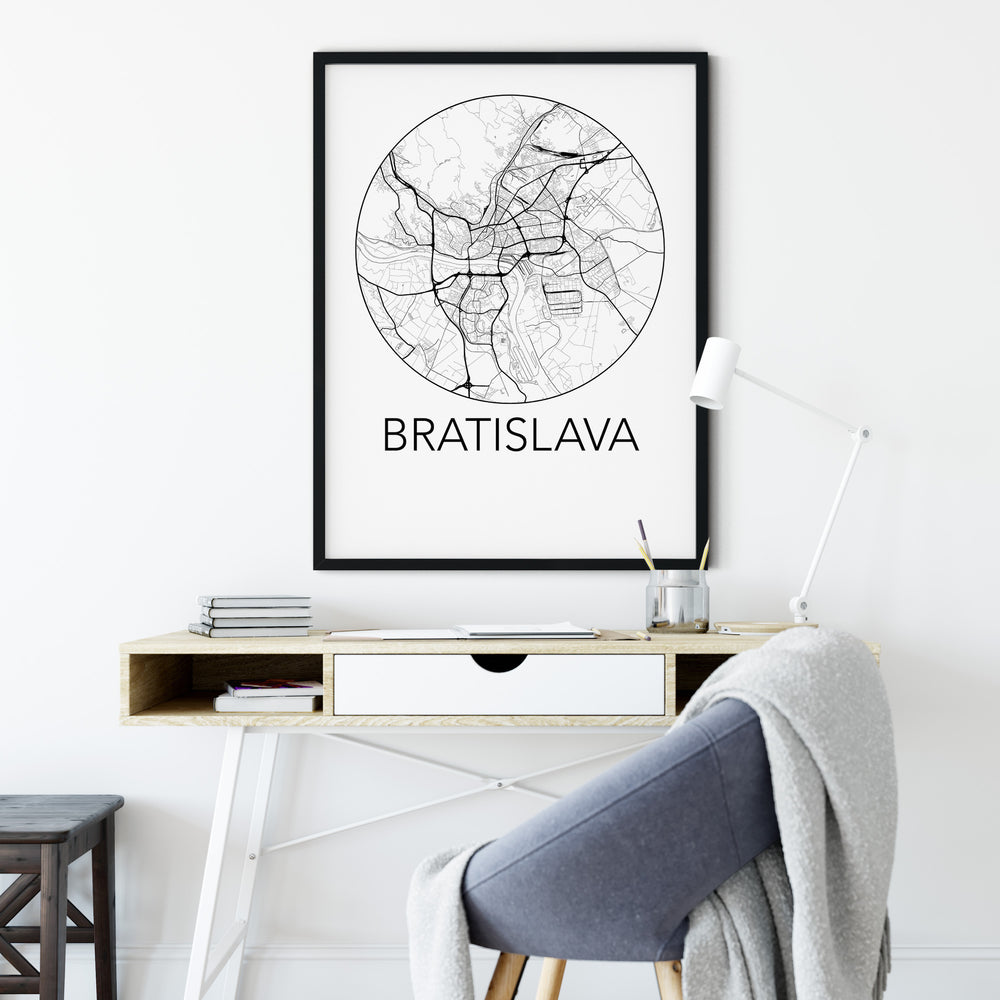 Decorate your home or office with a Bratislava, Slovakia Minimalist City Map Print from The Neighbourhood Unit