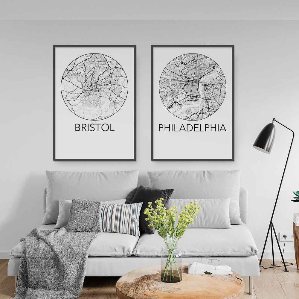 Decorate your home or office with a Bristol, England Minimalist City Map Print from The Neighbourhood Unit