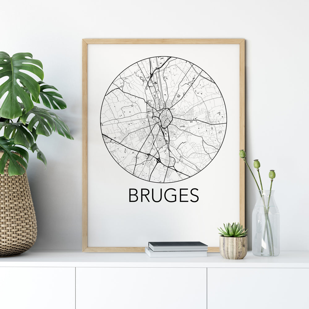 Decorate your home or office with a Bruges, Belgium Minimalist City Map Print from The Neighbourhood Unit