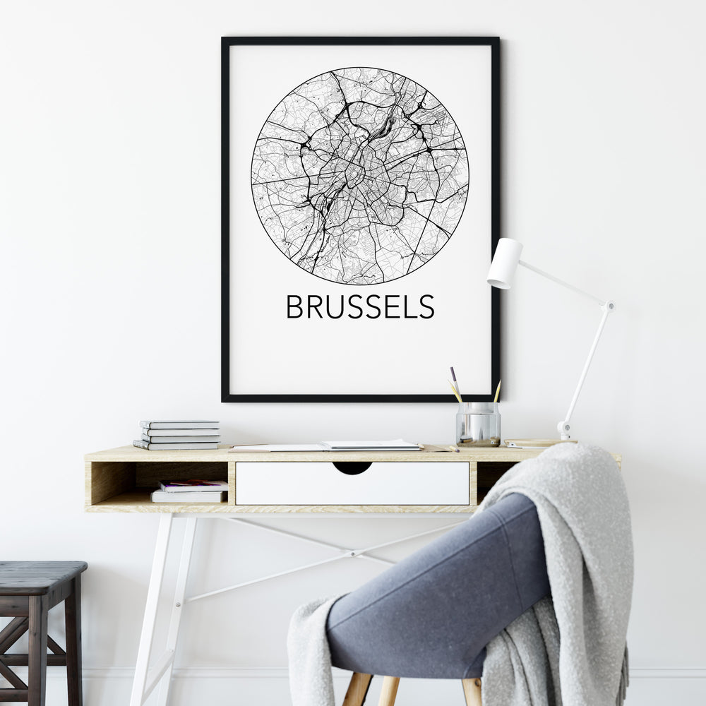 Decorate your home or office with a Brussels, Belgium Minimalist City Map Print from The Neighbourhood Unit