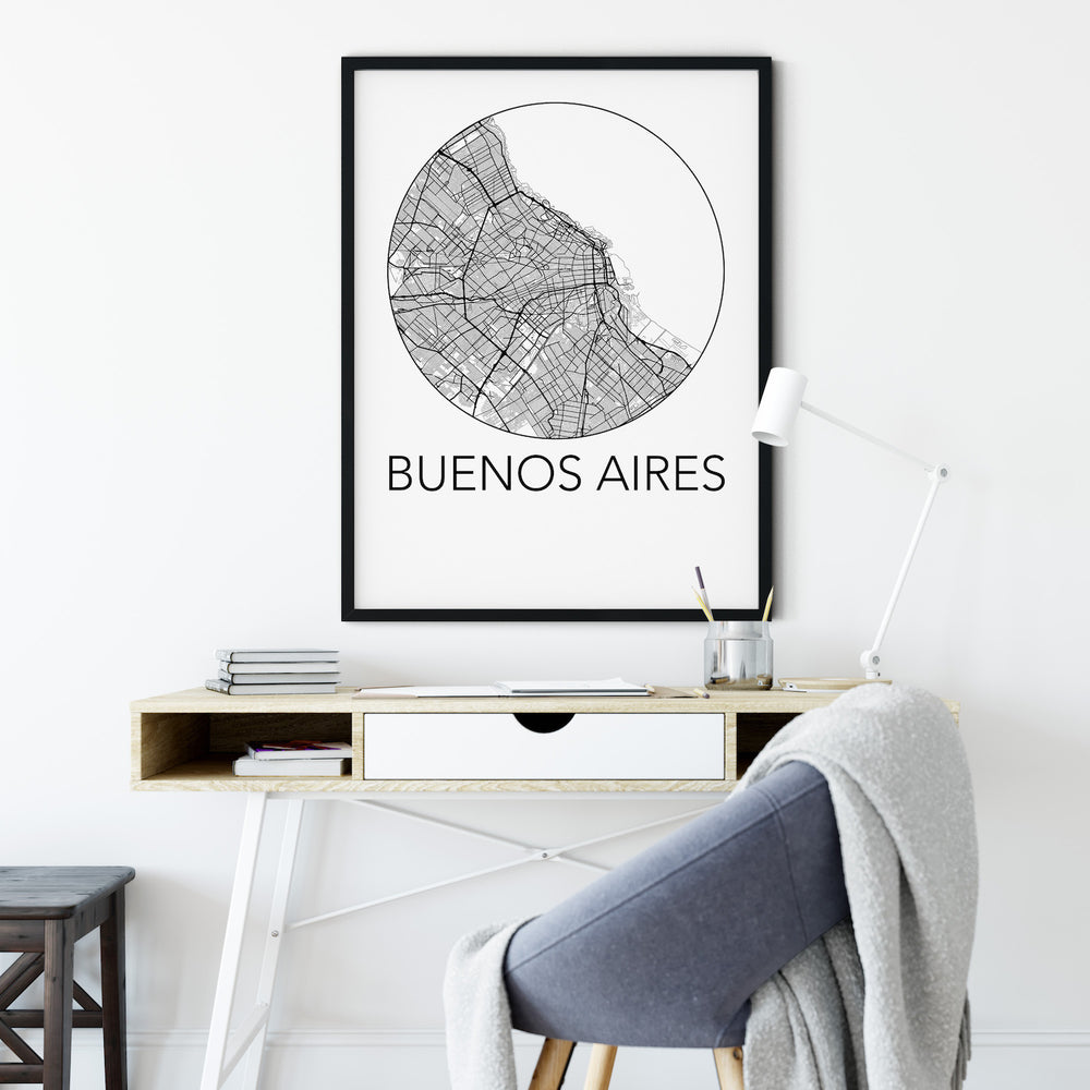 Decorate your home or office with a Buenos Aires, Argentina Minimalist City Map Print from The Neighbourhood Unit