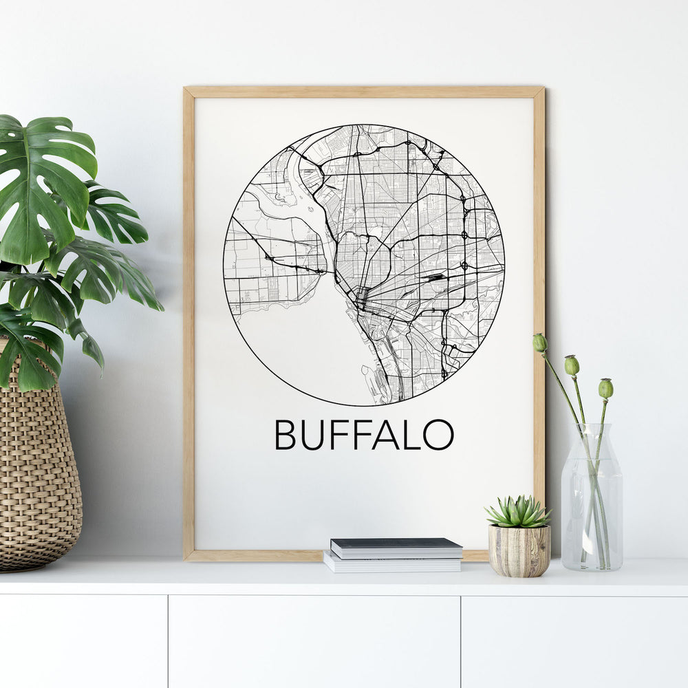 Decorate your home or office with a Buffalo, New York Minimalist City Map Print from The Neighbourhood Unit
