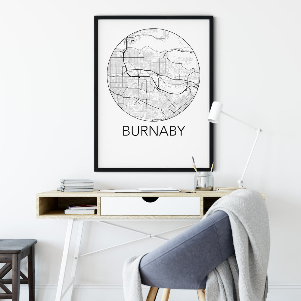 Decorate your home or office with a Burnaby, BC Minimalist City Map Print from The Neighbourhood Unit