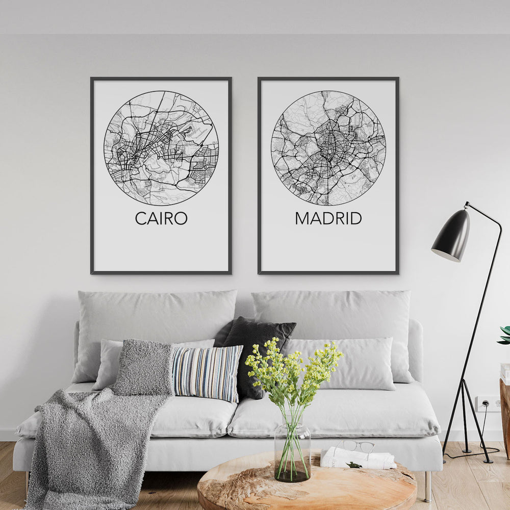 Decorate your home or office with a Cairo, Egypt Minimalist City Map Print from The Neighbourhood Unit