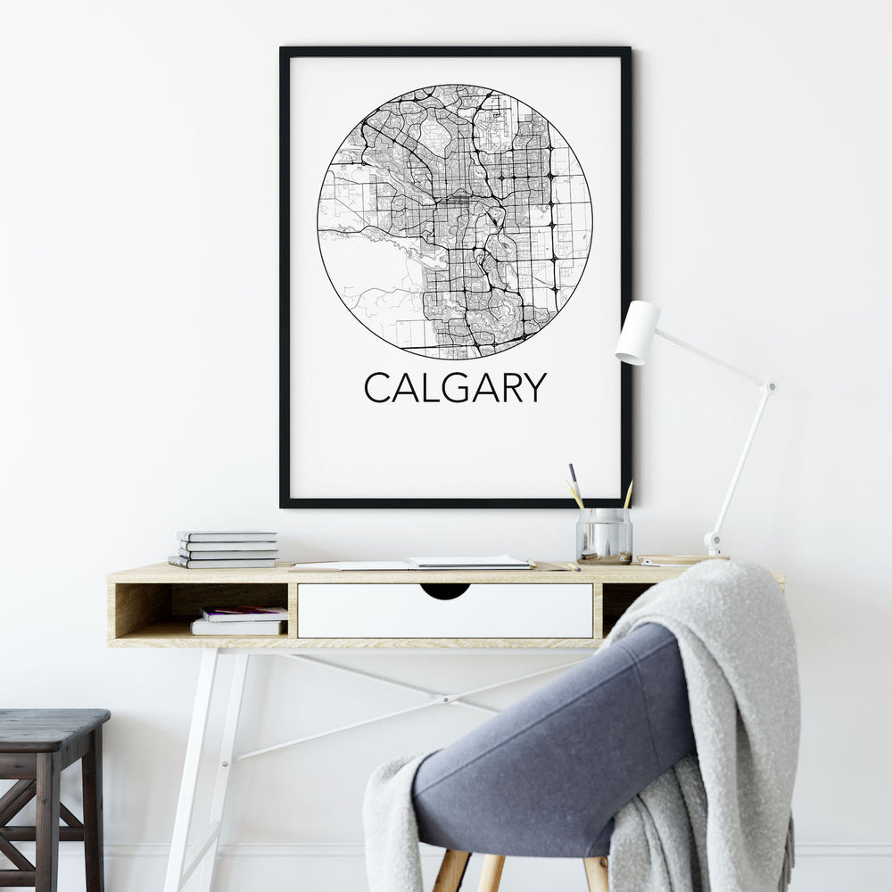 Decorate your home or office with a Calgary, Alberta Minimalist City Map Print from The Neighbourhood Unit