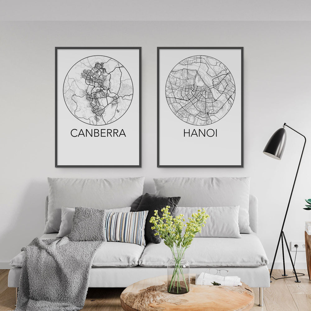 Decorate your home or office with a Canberra, Australia Minimalist City Map Print from The Neighbourhood Unit