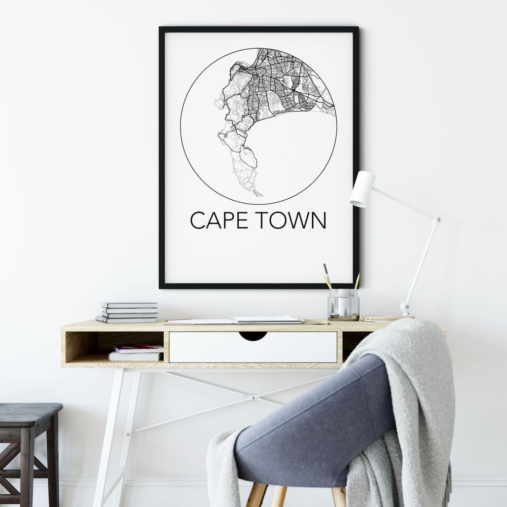 Decorate your home or office with a Cape Town, South Africa Minimalist City Map Print from The Neighbourhood Unit
