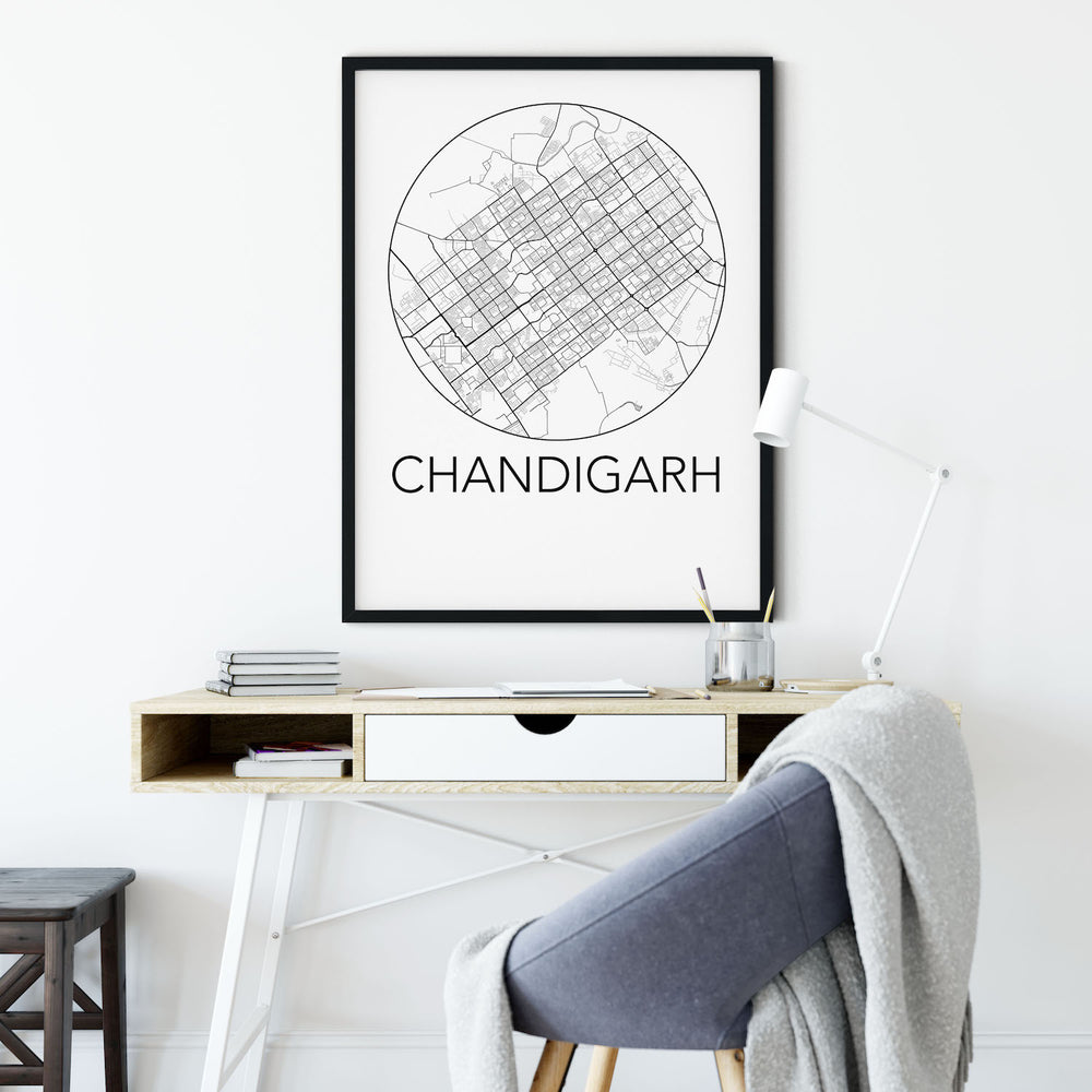 Decorate your home or office with a Chandigarh, India Minimalist City Map Print from The Neighbourhood Unit