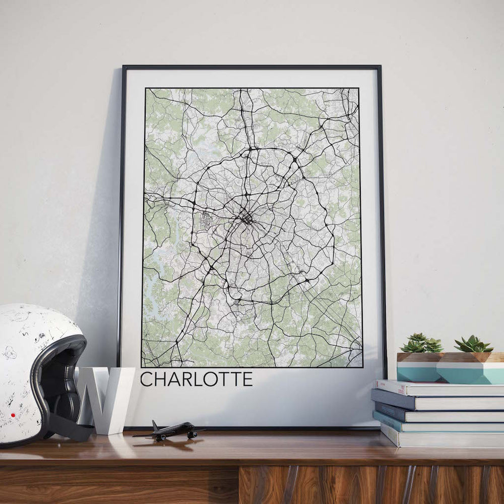 Decorate your home or office with a Charlotte, North Carolina Minimalist City Map Print from The Neighbourhood Unit
