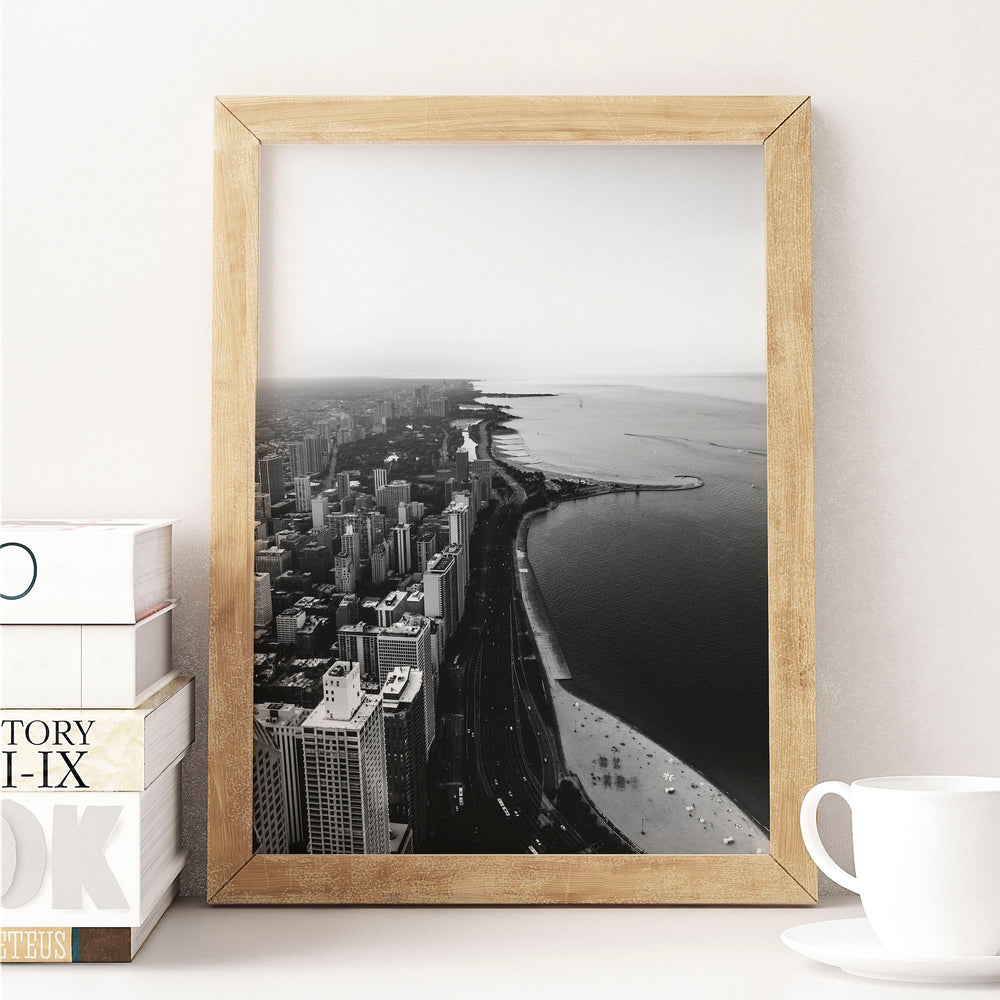 Decorate your home or office with a Chicago Lake Michigan Black & White Photo from The Neighbourhood Unit