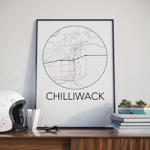 Chilliwack, BC Minimalist City Map Print