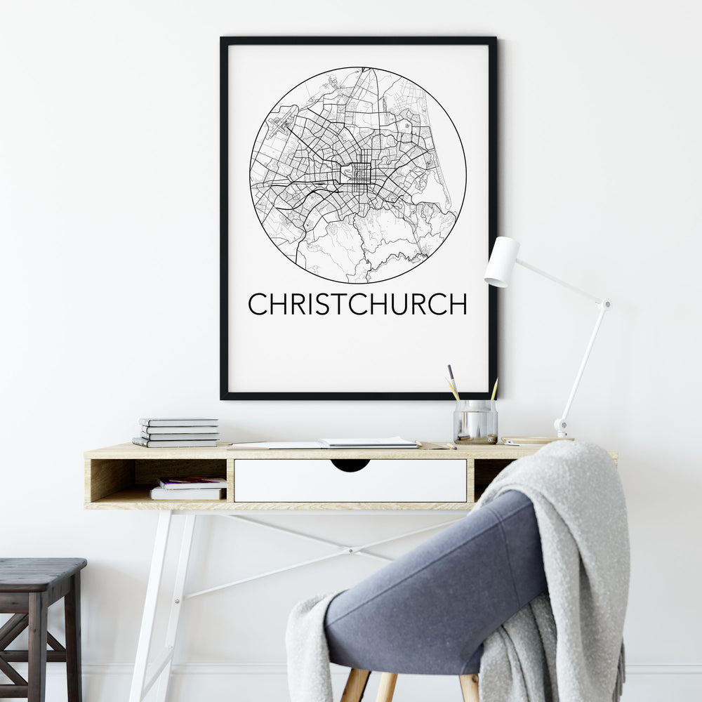 Decorate your home or office with a Christchurch, New Zealand Minimalist City Map Print from The Neighbourhood Unit