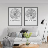 Decorate your home or office with a Cincinnati, Ohio Minimalist City Map Print from The Neighbourhood Unit