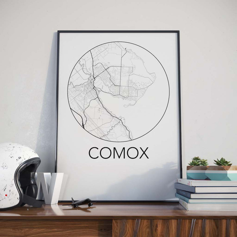 Decorate your home or office with a Comox, BC Minimalist City Map Print from The Neighbourhood Unit