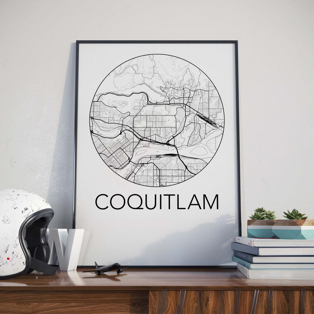 Decorate your home or office with a Coquitlam, BC Minimalist City Map Print from The Neighbourhood Unit