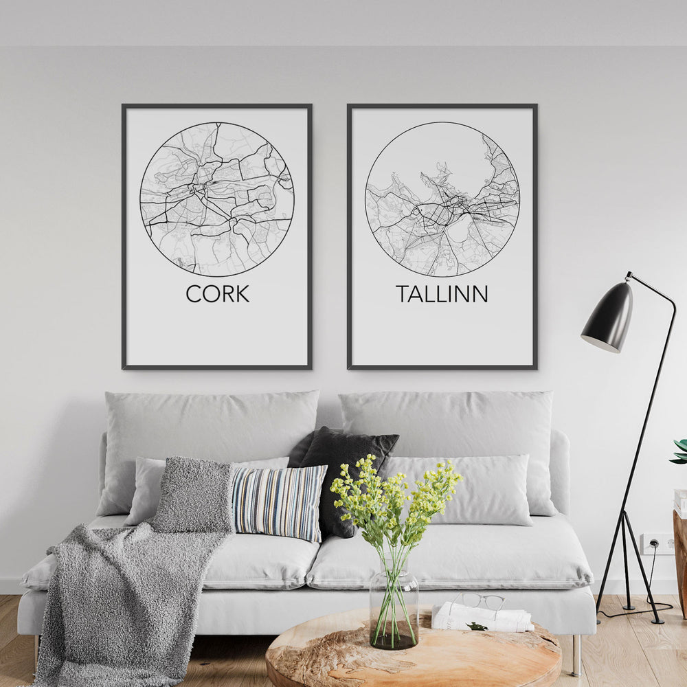 Decorate your home or office with a Cork, Ireland Minimalist City Map Print from The Neighbourhood Unit