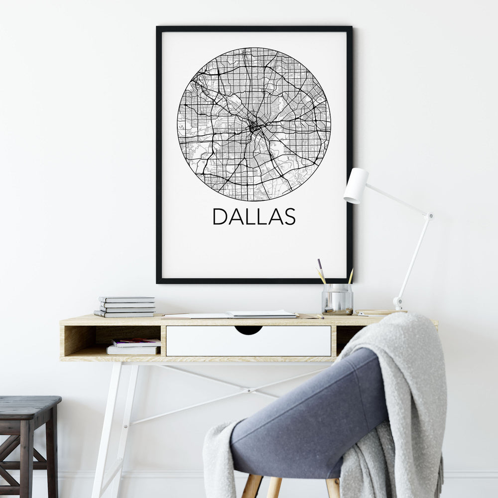 Decorate your home or office with a Dallas, Texas Minimalist City Map Print from The Neighbourhood Unit