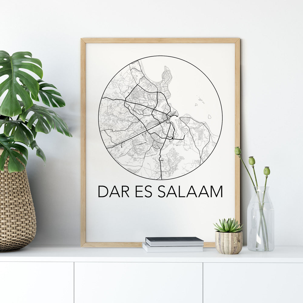 Decorate your home or office with a Dar es Salaam, Tanzania Minimalist City Map Print from The Neighbourhood Unit