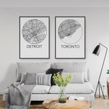 Detroit, Michigan Minimalist City Map Print