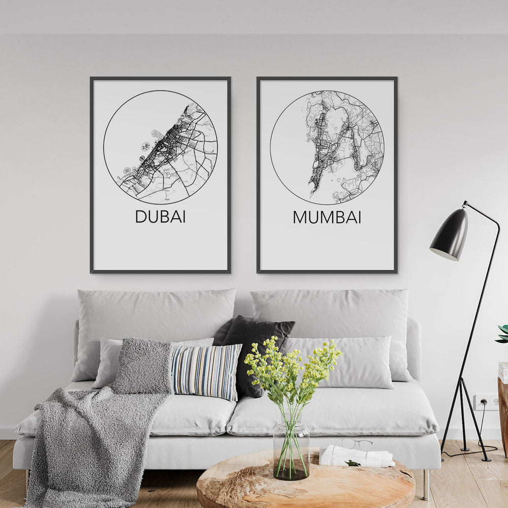 Decorate your home or office with a Dubai, United Arab Emirates Minimalist City Map Print from The Neighbourhood Unit