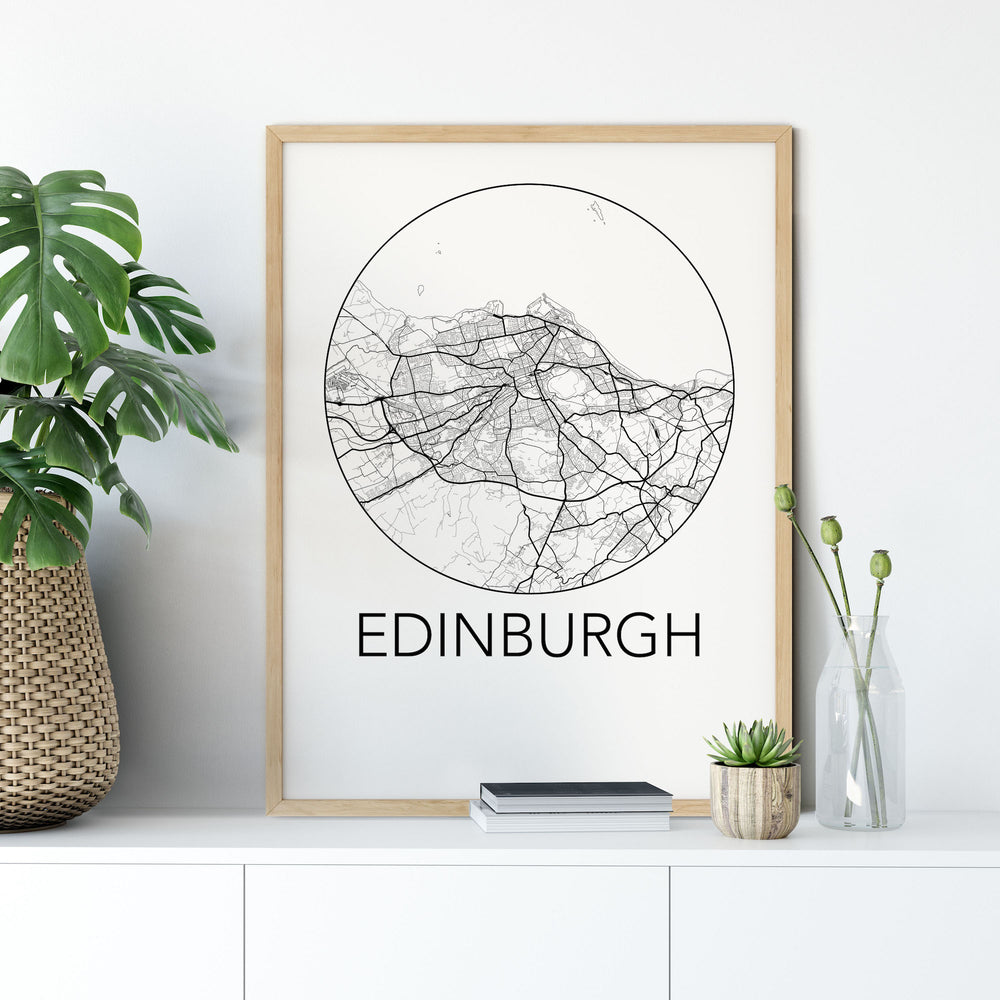 Decorate your home or office with a Edinburgh, Scotland Minimalist City Map Print from The Neighbourhood Unit