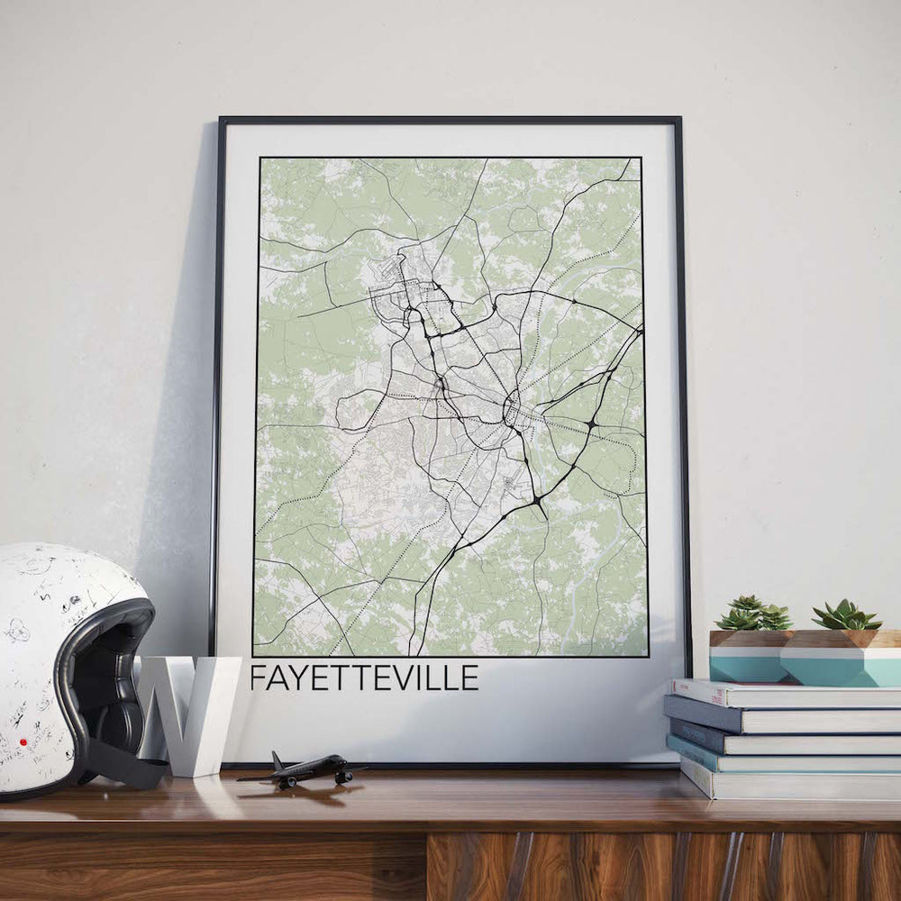 Decorate your home or office with a Fayetteville, North Carolina Minimalist City Map Print from The Neighbourhood Unit