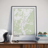 Decorate your home or office with a Fernie, BC Minimalist City Map Print from The Neighbourhood Unit