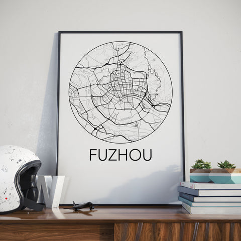 Fuzhou, China Minimalist City Map Print