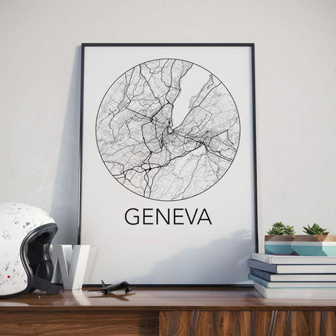 Geneva, Switzerland Minimalist City Map Print