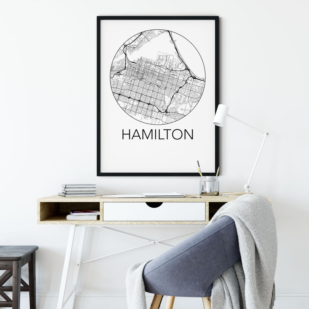 Decorate your home or office with a Hamilton, Ontario Minimalist City Map Print from The Neighbourhood Unit