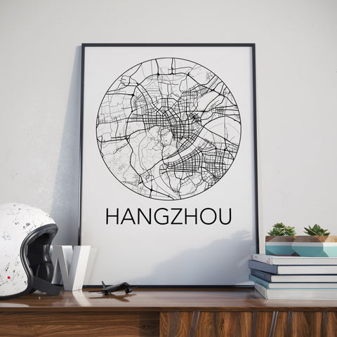 Hangzhou, China Minimalist City Map Print