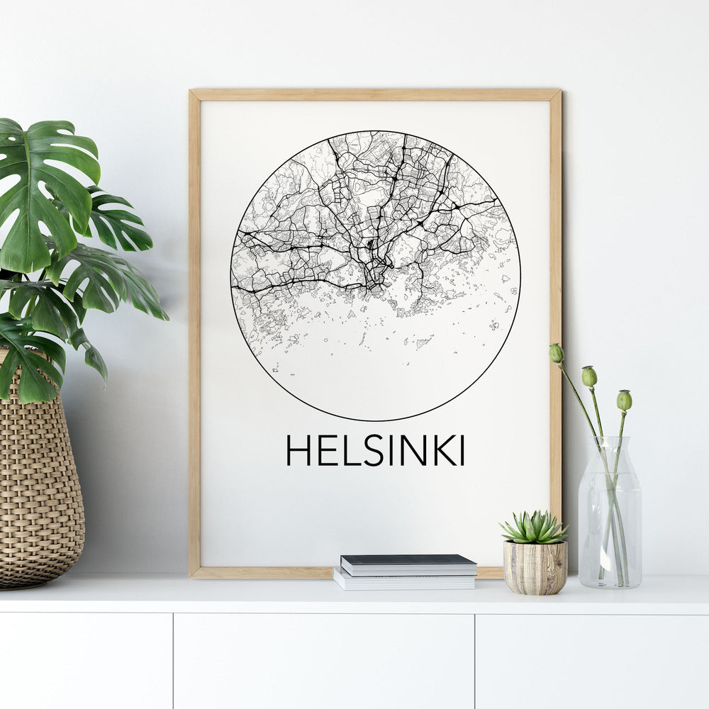 Decorate your home or office with a Helsinki, Finland Minimalist City Map Print from The Neighbourhood Unit