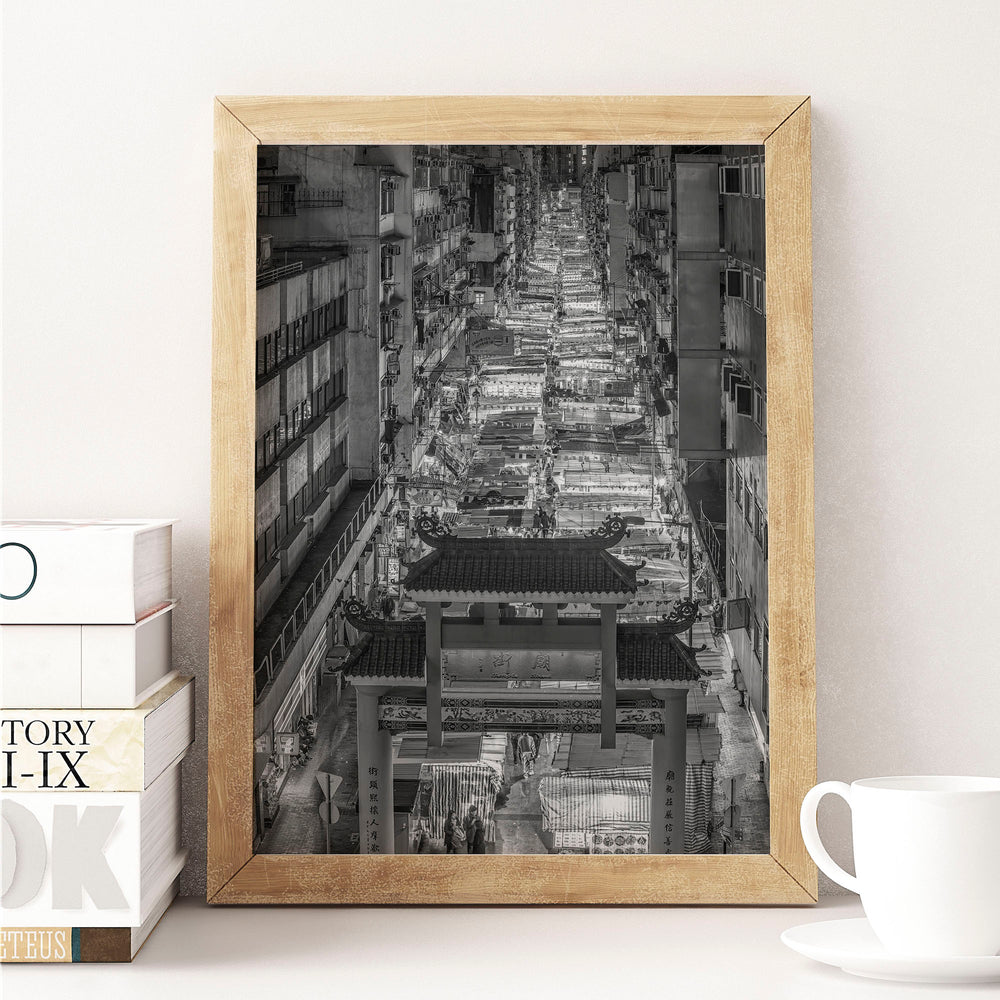 Decorate your home or office with a Hong Kong Temple Street Market Black & White Photo from The Neighbourhood Unit