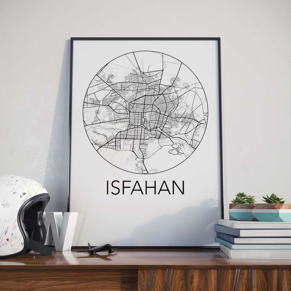 Decorate your home or office with a Isfahan, Iran Minimalist City Map Print from The Neighbourhood Unit
