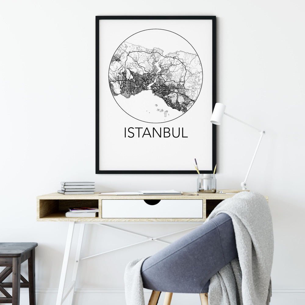 Decorate your home or office with a Istanbul, Turkey Minimalist City Map Print from The Neighbourhood Unit