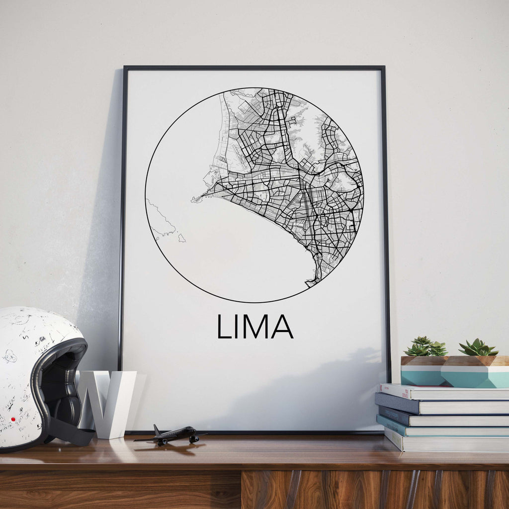 Lima, Peru Minimalist City Map Print