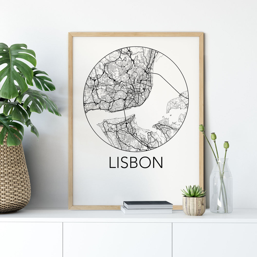 Decorate your home or office with a Lisbon, Portugal Minimalist City Map Print from The Neighbourhood Unit