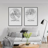 Decorate your home or office with a Liverpool, England Minimalist City Map Print from The Neighbourhood Unit
