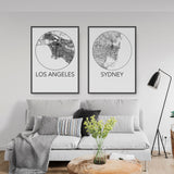 Decorate your home or office with a Los Angeles, California Minimalist City Map Print from The Neighbourhood Unit