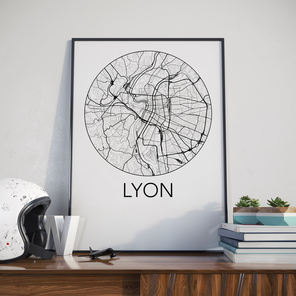 Lyon, France Minimalist City Map Print