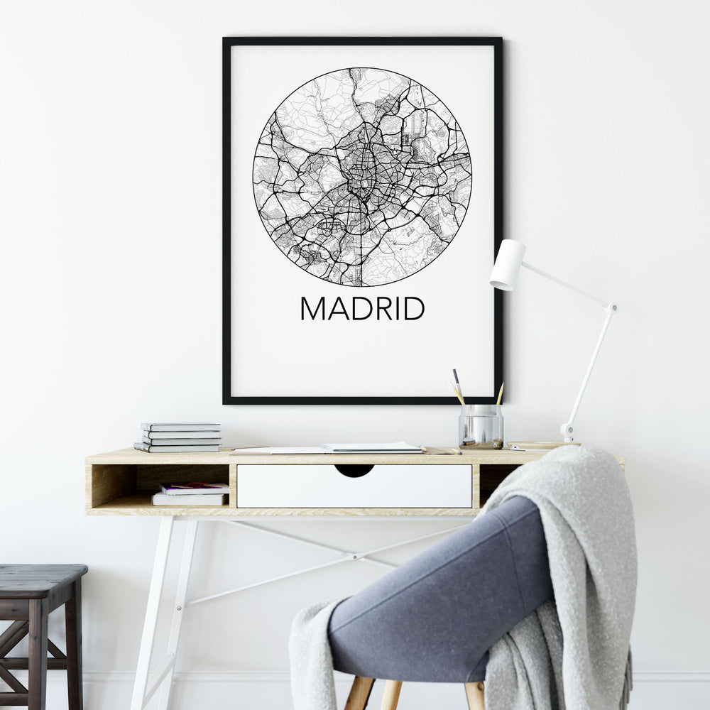 Decorate your home or office with a Madrid, Spain Minimalist City Map Print from The Neighbourhood Unit