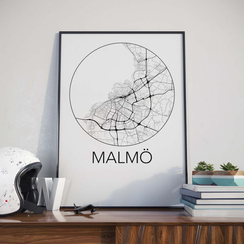 Malmo, Sweden Minimalist City Map Print