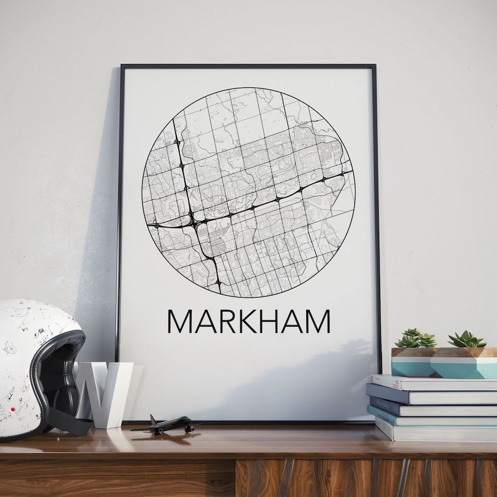 Decorate your home or office with a Markham, Ontario Minimalist City Map Print from The Neighbourhood Unit