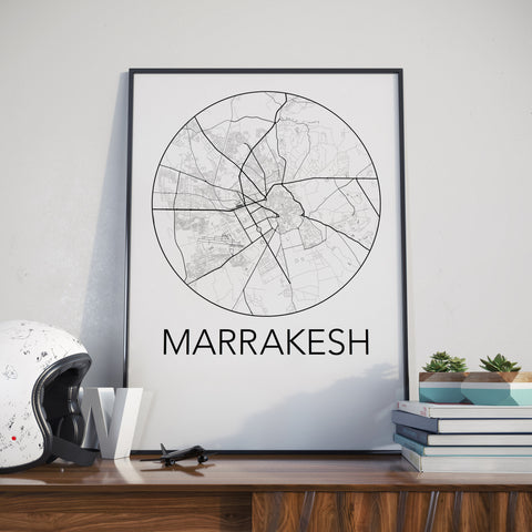 Marrakesh, Morocco Minimalist City Map Print