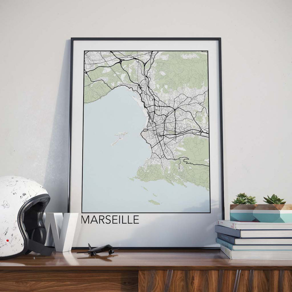 Decorate your home or office with a Marseille, France Minimalist City Map Print from The Neighbourhood Unit