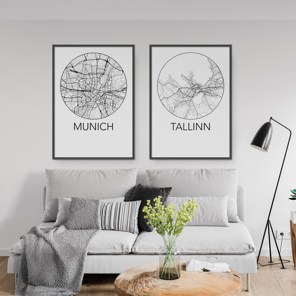 Decorate your home or office with a Munich, Germany Minimalist City Map Print from The Neighbourhood Unit