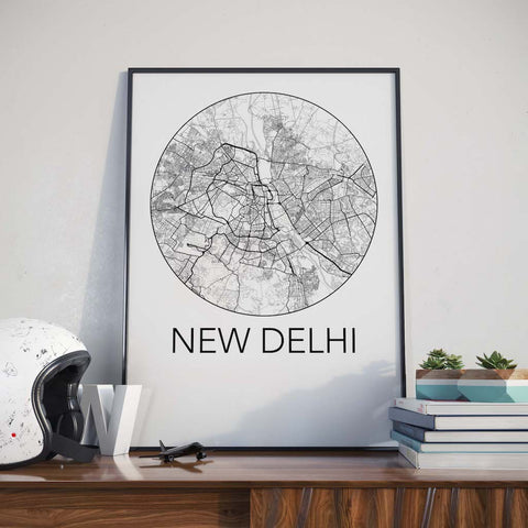 New Delhi, India Minimalist City Map Print
